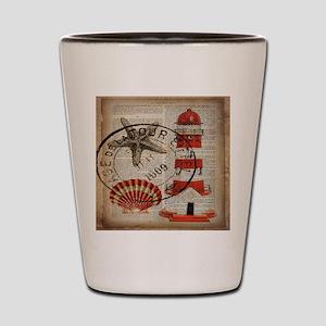 vintage lighthouse sea shells Shot Glass