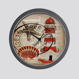 vintage lighthouse sea shells Wall Clock