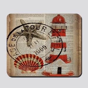 vintage lighthouse sea shells Mousepad