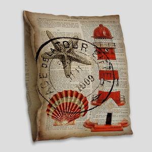 vintage lighthouse sea shells Burlap Throw Pillow