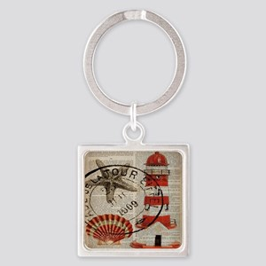 vintage lighthouse sea shells Square Keychain