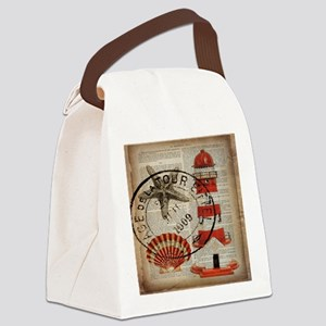 vintage lighthouse sea shells Canvas Lunch Bag