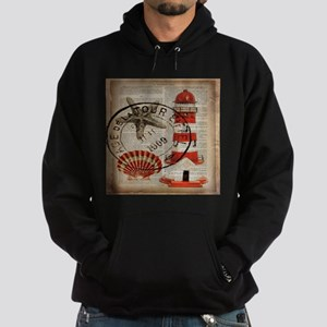 vintage lighthouse sea shells Hoodie (dark)