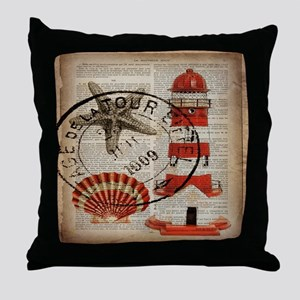 vintage lighthouse sea shells Throw Pillow