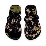 Pink Sakura Gold Black Flip Flops