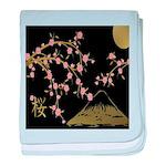 Pink Sakura Gold Black baby blanket