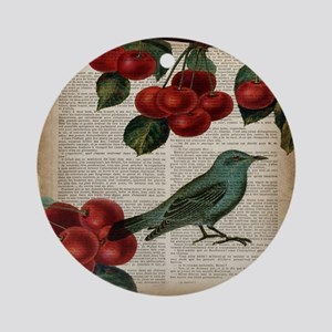 botanical print bird cherry Round Ornament