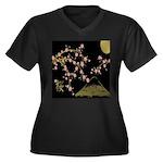 Pink Sakura Gold Black Plus Size T-Shirt