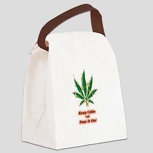 Marijuna Humor Keep Calm Pass It  Canvas Lunch Bag