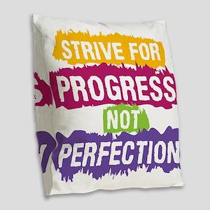 Strive for Progress Burlap Throw Pillow