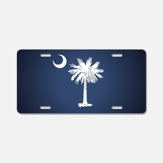 SC Flag Aluminum License Plate