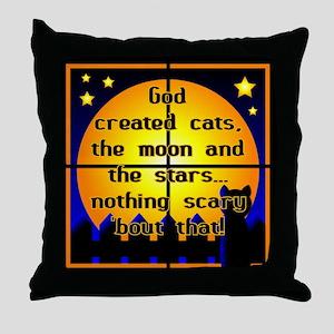 God Created Black Cats Throw Pillow