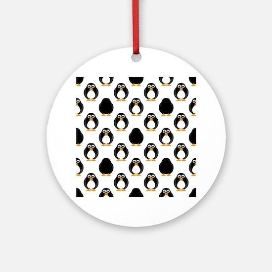 Cute Penguin Pattern Round Ornament