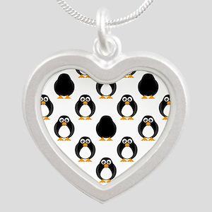 Cute Penguin Pattern Silver Heart Necklace