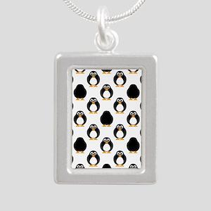 Cute Penguin Pattern Silver Portrait Necklace