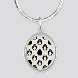 Cute Penguin Pattern Silver Oval Necklace