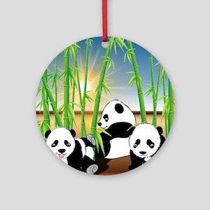 Panda Bears Round Ornament