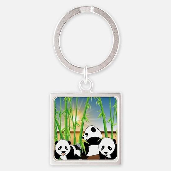 Panda Bears Square Keychain