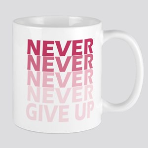 Never Give Up Pink Dark Mug