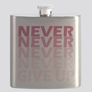 Never Give Up Pink Dark Flask