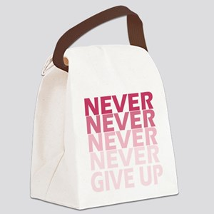 Never Give Up Pink Dark Canvas Lunch Bag