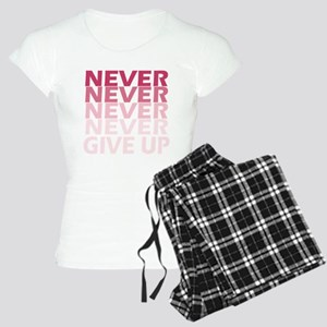 Never Give Up Pink Dark Women's Light Pajamas