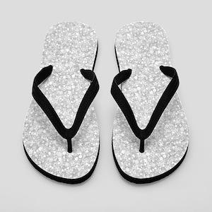 Silver Gray Glitter Sparkles Flip Flops