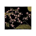Pink Sakura Gold Black Throw Blanket