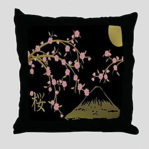 Pink Sakura Gold Black Throw Pillow