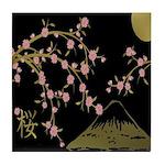 Pink Sakura Gold Black Tile Coaster