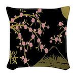 Pink Sakura Gold Black Woven Throw Pillow