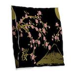 Pink Sakura Gold Black Burlap Throw Pillow