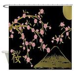 Pink Sakura Gold Black Shower Curtain