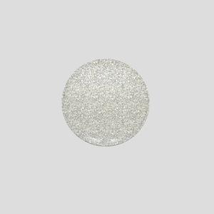 Silver Gray Glitter Sparkles Mini Button