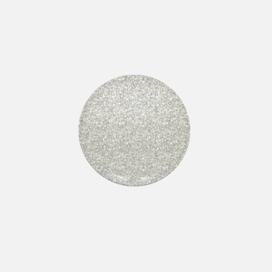 Silver Gray Glitter Sparkles Mini Button