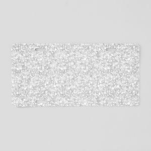 Silver Gray Glitter Sparkl Aluminum License Plate