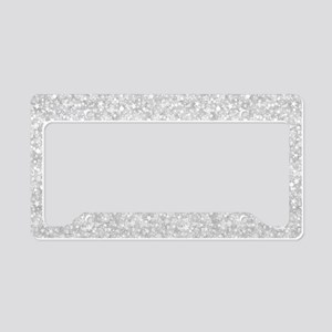 Silver Gray Glitter Sparkles License Plate Holder