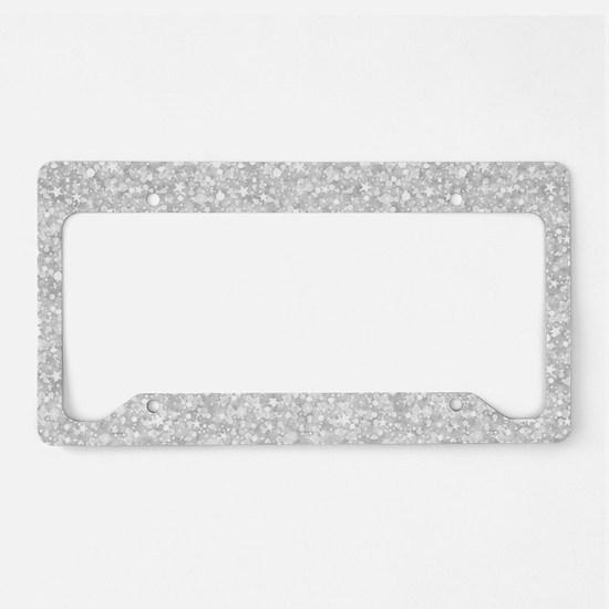 Silver Gray Glitter Sparkles License Plate Holder
