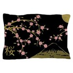 Pink Sakura Gold Black Pillow Case