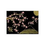 Pink Sakura Gold Black 5'x7'Area Rug