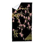 Pink Sakura Gold Black Beach Towel
