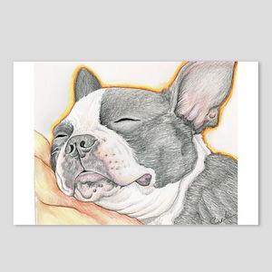 Sleepy Boston Terrier Postcards (Package of 8)