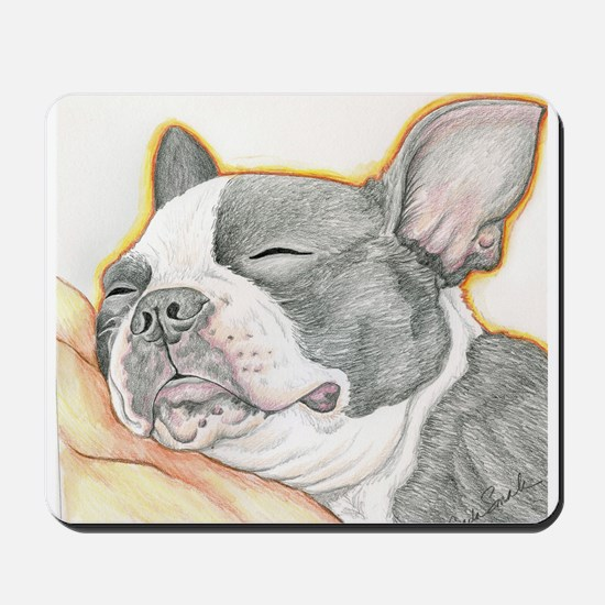 Sleepy Boston Terrier Mousepad