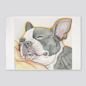 Sleepy Boston Terrier 5'x7'Area Rug