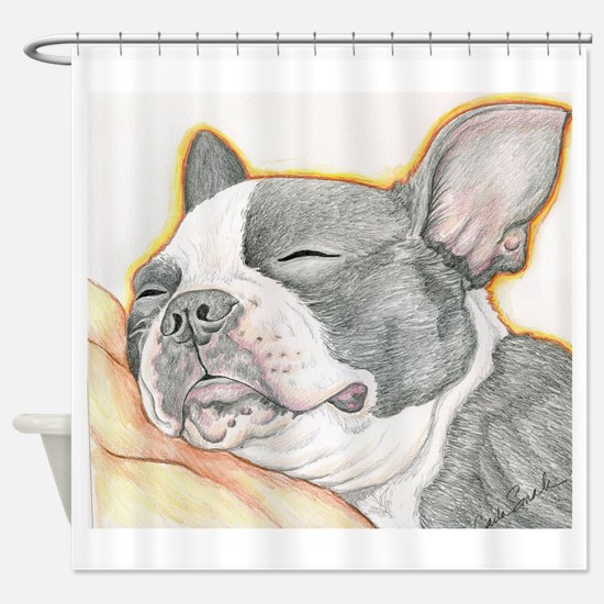 Sleepy Boston Terrier Shower Curtain