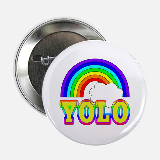 """YOLO with Rainbow and Cloud 2.25"""" Button"""