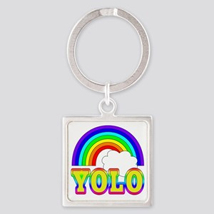 YOLO with Rainbow and Cloud Square Keychain