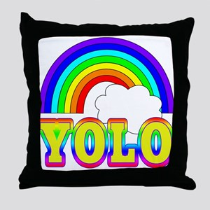 YOLO with Rainbow and Cloud Throw Pillow