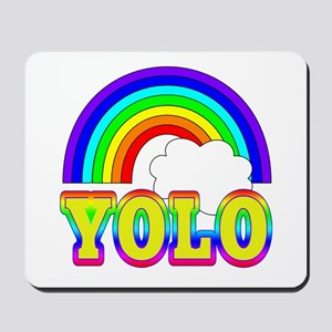 YOLO with Rainbow and Cloud Mousepad
