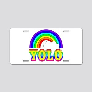 YOLO with Rainbow and Cloud Aluminum License Plate